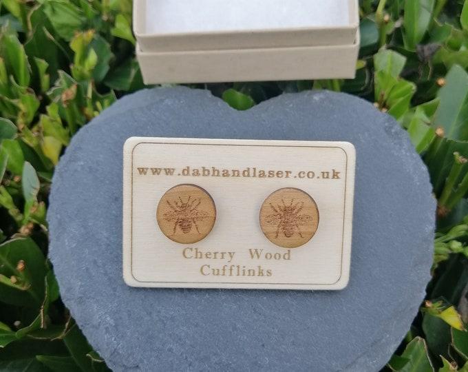 Bee Engraved Cherry Wood Cufflinks.