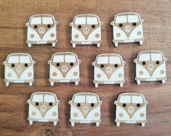 Camper Van Wood Buttons, Pack of 5 or 10, Decorative Fun Buttons, Ideal for Sewing, Crafting, Scrap Booking, Embellishments.