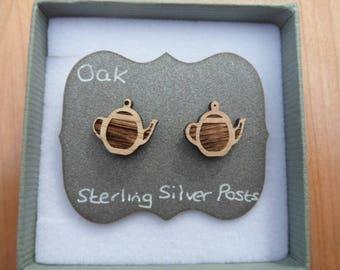 Oak Teapot Stud Earrings, with Sterling Silver Backs.