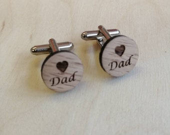 Heart Dad Oak Cuff Links, Father's Day Gift. Dad's Birthday Gift.