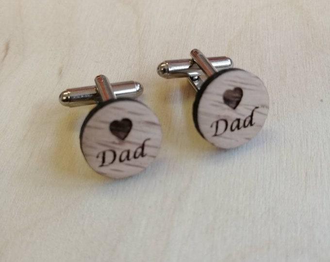 Heart Dad Custom Handmade Oak Cufflinks, Christmas Gifts for Him. Birthday Gifts For Him, Wedding Cufflinks.