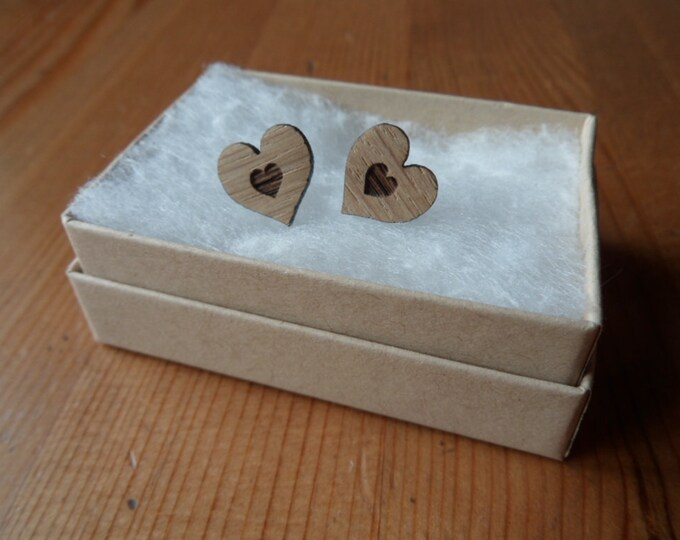 Heart within heart Oak Engraved Earrings with Sterling Silver Studs