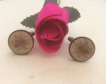 Bee Engraved Wood Cuff Links, Custom Made Cuff links, Handmade Cuff links.