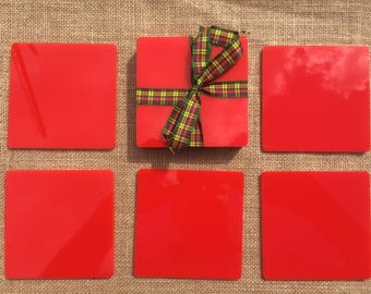 Acrylic Coasters, Hard Colours, Red, Black, Pink, Yellow, Green, Blue & Ivory.