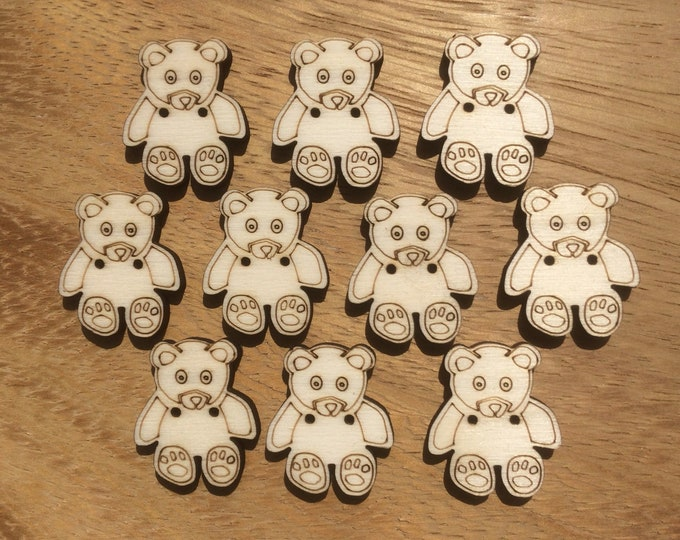 Teddy Bear Buttons, Pack of 5 or 10, Decorative Fun Buttons, Ideal for Sewing, Crafting, Scrap Booking, Embellishments.