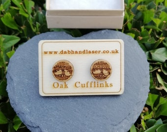 Celtic Tree of Life Custom Engraved Oak  Cufflinks.