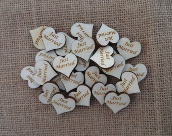 Just Married, Wedding Table Confetti, Engraved Wood Wedding Decor, Scatter Hearts, Wedding Table Decorations, Small Wood Hearts.