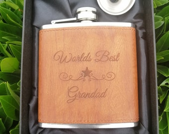 Worlds Best Grandad Engraved on a PU Leather Wood Effect 6oz Hip Flask. Christmas Gifts For Grandad. **Sale Item 25% off**
