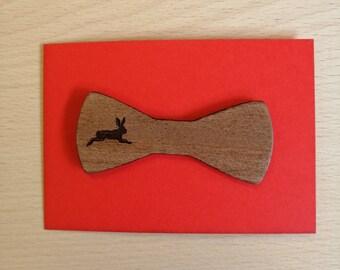 Beautifully Engraved Mahogany, Bow Style, Hare Brooch