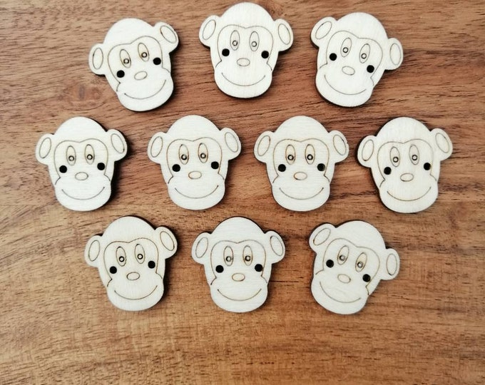 Wooden Monkey Buttons, Pack of 5 or 10, Decorative Fun Buttons, Ideal for Sewing, Knitting, Crochet, Crafting, Scrap Booking Etc