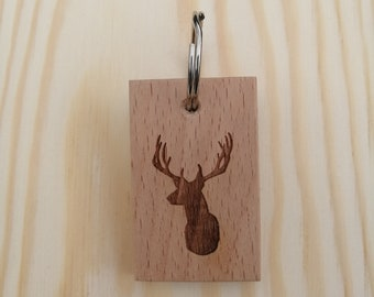 Stag Laser Engraved Handmade Beech Wood Keyring.