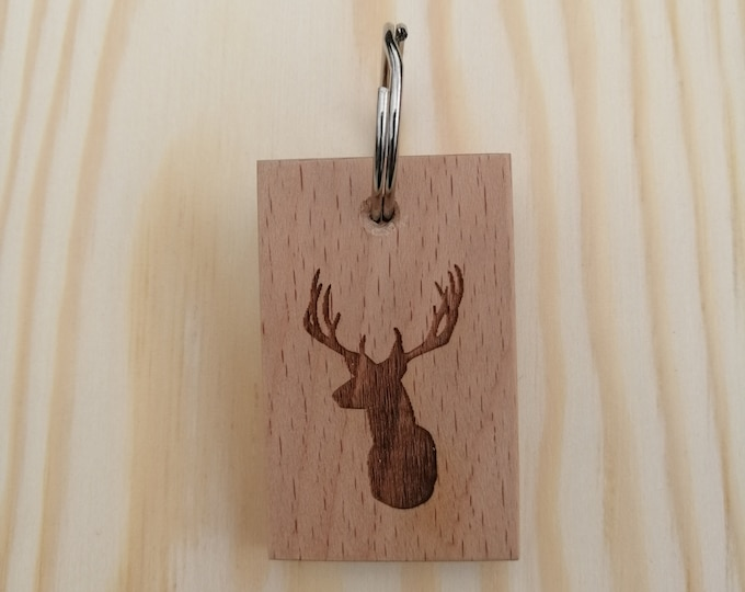 Stag Handmade and Hand Finished Beech Wood Keyring. Personalised keyrings.