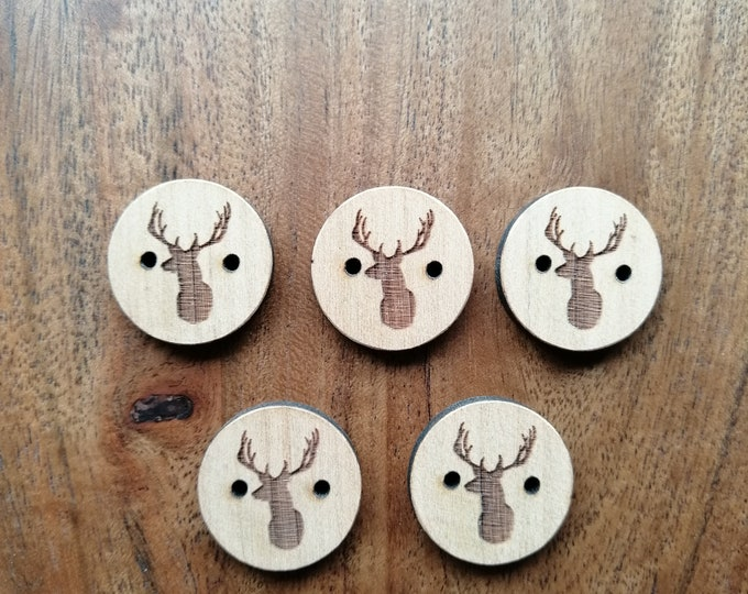 Stag Cherry Wood Buttons, Ideal For Sewing, Knitting, Crochet, Scrapbooking, Crafting, Fun Buttons.