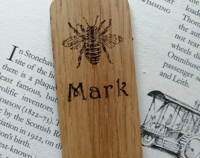Bee Engraved on an Oak Bookmark. Personalised Bookmark, Wild Life Gifts, Bee Gifts, Hand Finished Bookmarks.