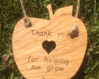 Thank you for helping me grow, Oak Wood Slice Teacher Gift.