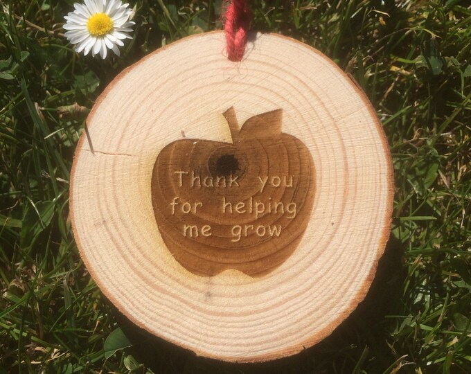 Thank you for helping me grow, Pack of 4 Wood Slice Teachers Gift.