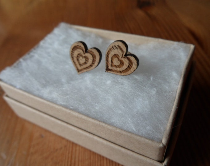 Concentric Hearts Oak Engraved Earrings with Sterling Silver Studs