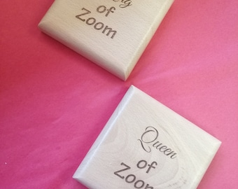King of Zoom Or Queen of Zoom Beech Wood Coasters, Handmade, Laser Engraved, Secret Santa Gifts.