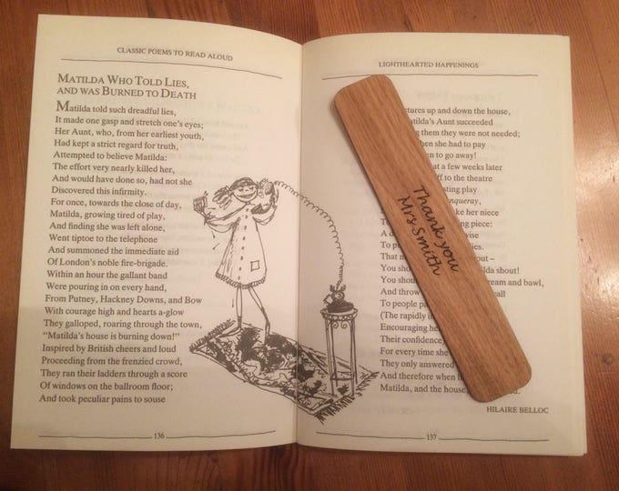 Teachers Gift, Oak Hand Finished Bookmark, Thank you Teachers Gift, Personalised Teachers Gift