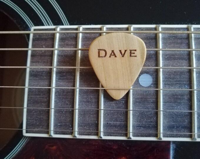 Personalised Cherry wood Guitar Pick, Custom Made Guitar Picks, Hand Made Guitar Picks, Handmade Plectrums.