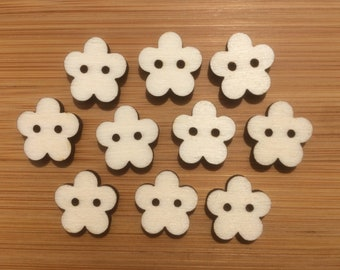 Wooden Flower Buttons, Pack of 5 or 10, Decorative Fun Buttons, Ideal for Sewing, Crafting, Scrap Booking, Embellishments.