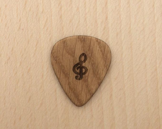 Clef, Oak Guitar Pick, Engraved Guitar Pick, Plectrums, Custom Made Guitar Picks, Hand Made Guitar Picks.