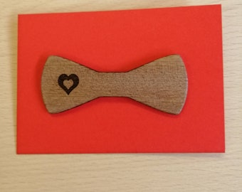 Beautifully Engraved Mahogany Bow Style Heart Brooches