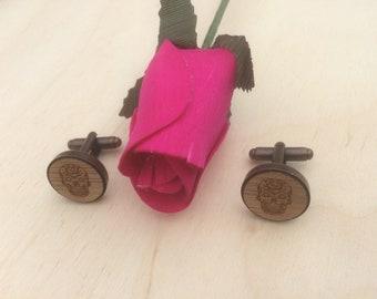 Sugar Skull  Engraved Wood Cuff Links, Custom Made Cuff links, Handmade Cuff links.