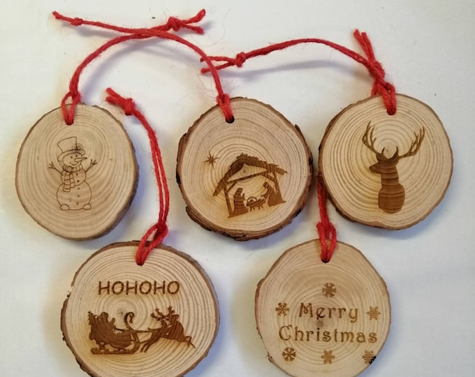 Wood Slice Engraved Christmas Decorations Pack of 5 or 10
