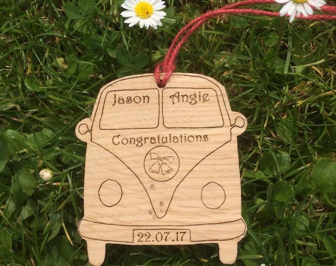 Oak Personalised Camper Van Hanging, Wedding Gift, Wedding Present, Camper Van.