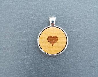 Beautiful Heart Cherry Wood Pendant.
