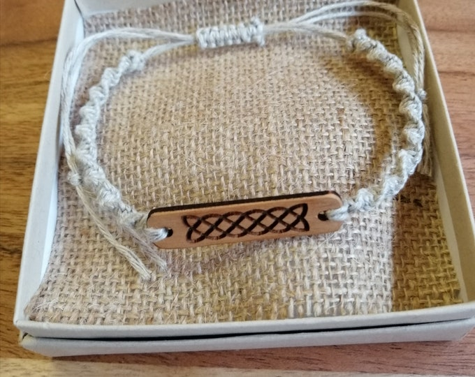 Celtic Knot, Engraved On Cherry Wood with Macrame Half square Twist Knot Adjustable Bracelet Made From Natural Linen Fibres.