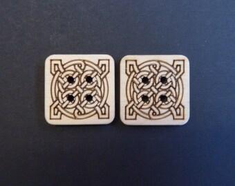 Celtic Knot Square Buttons, 2.5 cm x 2.5cm x 3mm, Pack of 5 Wood Buttons. Decorative Buttons, Celtic Buttons.