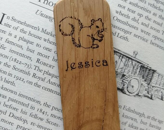Grey Squirrel Oak Bookmark, Personalised Bookmark.