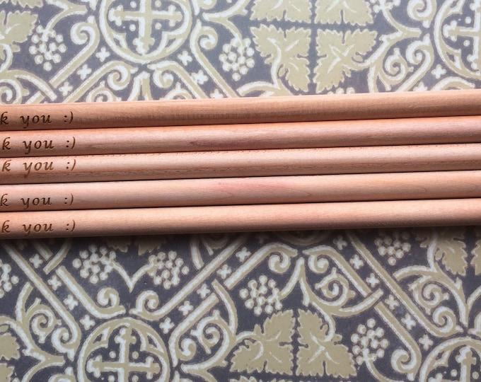 Teacher Gift Thank You Engraved Natural Wood Pencils, Pack of 5, Gifts For Teacher, Wood Gifts For Teachers, Star Teacher, Special Teacher.