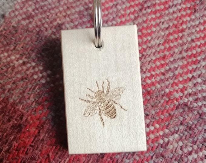 Bee Laser Engraved Beech Wood Keyring