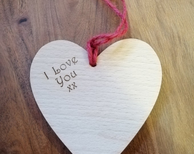 Wooden Heart Hanging Engraved with 'I Love You' Valentine's Gifts.