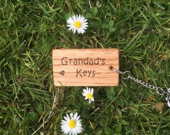 Grandad's keys Oak Key Ring, Grandad's Birthday Gift, Grandad's Christmas Gift, Grandad Gift.