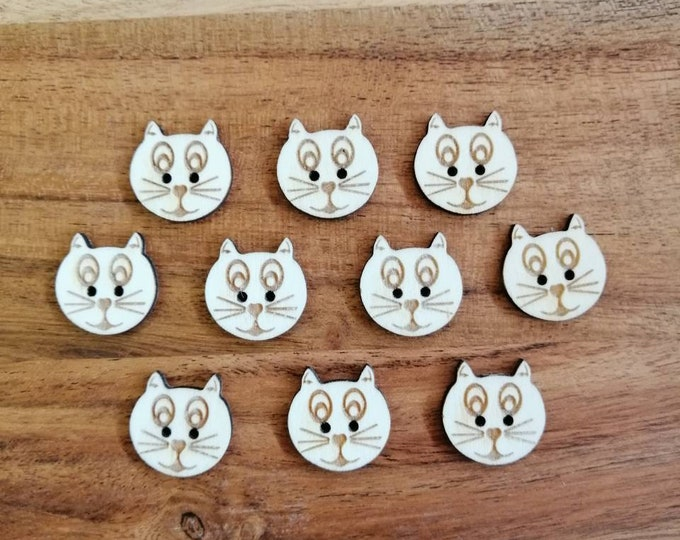 Wooden Cat Buttons, Packs of 5 or 10, Decorative Fun Buttons For Sewing, Knitting, Crochet, Scrap Booking Etc.