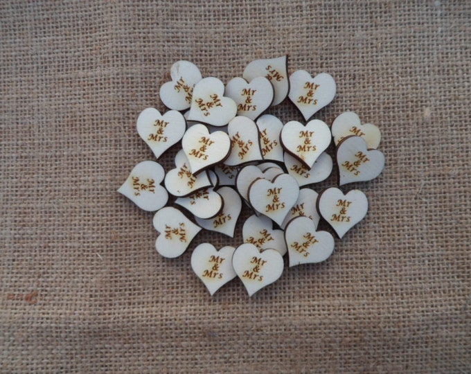 Mr & Mrs, Mr and Mr, Mrs and Mrs, Table Confetti, Engraved Wood Wedding Decor, Table Confetti, Scatter Hearts, Wedding Table Decorations.