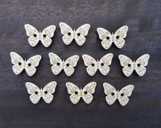 Butterfly Wood Buttons, Pack of 5 or 10, Decorative Fun Buttons, Ideal for Sewing, Crafting, Scrap Booking, Embellishments.