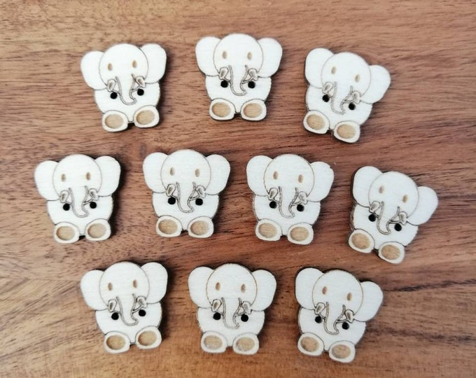 Elephant Wood Buttons, Pack of 5 or 10, Decorative Fun Buttons, Ideal for Sewing, Crafting, Scrap Booking, Embellishments.