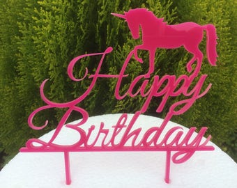 Happy Birthday Unicorn Cake Topper. ****50% Discount**** Acrylic Cake Topper, Unicorn Cake.