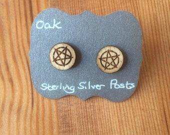 Pentagram Stud Earrings with Sterling Silver Backs.