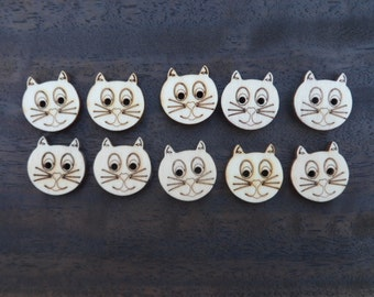 Wooden Cat Buttons (pack of 5 or 10)