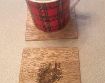 Red Squirrel Coasters, Wildlife Coasters, Wood Coasters, Engraved Coasters.