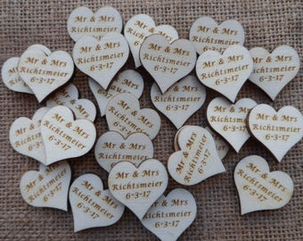 Personalised Wedding Table Confetti, Engraved Wood Wedding Decor, Table Confetti, Scatter Hearts, Wedding Table Decorations, Wooden Hearts.