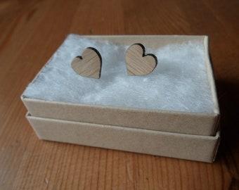 Hearts Oak Earrings with Sterling Silver Studs