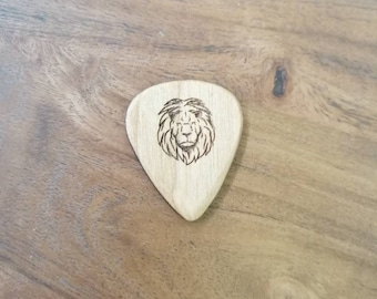 Lion Cherry Wood Guitar Pick, Engraved Guitar Pick, Plectrums, Custom Made Guitar Picks, Hand Made Guitar Picks.