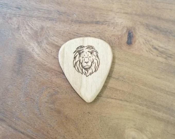 Lion Cherry Wood Guitar Pick, Engraved Guitar Pick, Plectrums, Custom Made Guitar Picks, Hand Made Guitar Picks.